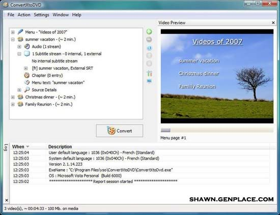 Convert Mov, Xvid, VOB, DV, Mpeg, Mpeg4, Mp4, AVI, WMV to DVD