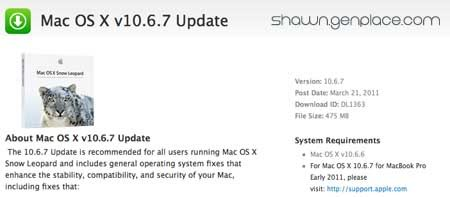 Mac OX v10.6.7 update